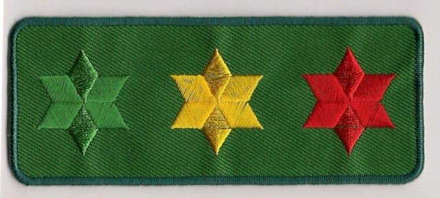 3 Star Of David Patch - green