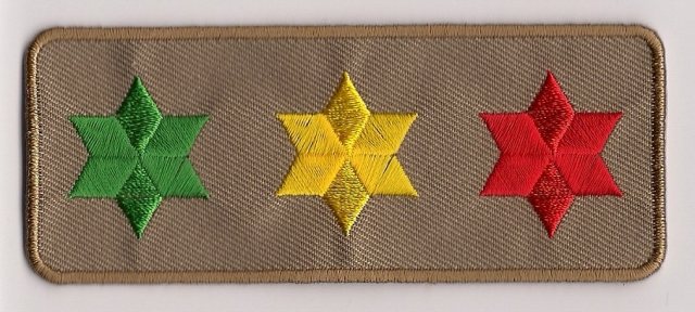 3 Star Of David Patch - khaki