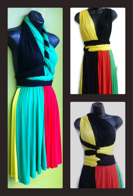 Rasta Million Ways Wrap Dress (short)