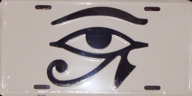 Eye of Heru License Plate - white - $13.99 : All Things Rasta ...