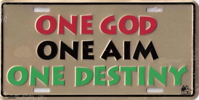 One God One Aim One Destiny License Plate