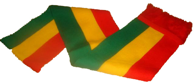 Rasta Fringe Scarf (v) NOW With Black Trim